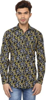 Lowcha Men,s Printed Casual Dark Blue, Yellow Shirt