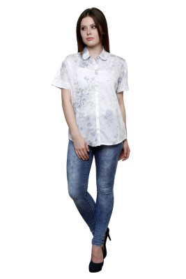 Vastrasutra Women's Floral Print Casual, Formal White Shirt