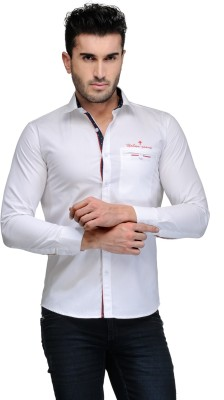 Finder Zone Men's Solid Casual White Shirt