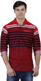 Human Steps Men's Striped Casual Red Shi...
