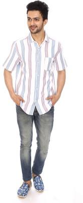 Kalaa Men's Striped Casual White, Blue Shirt