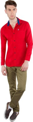 Nine Club Men's Solid Casual Red Shirt
