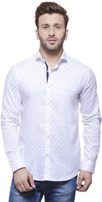 Invern Men's Printed Casual White Shirt