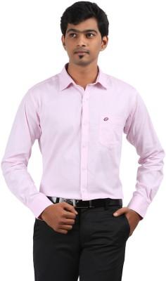 Stoff Men's Solid Formal Pink Shirt