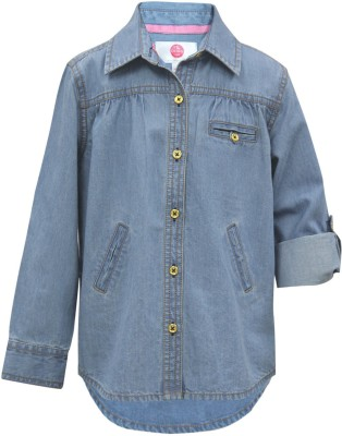 The Cranberry Club Girl's Solid Casual Blue Shirt
