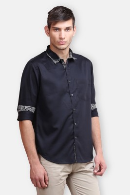 four one oh Men's Self Design Formal Black Shirt