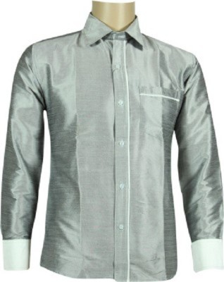 KENRICH Men's Solid Formal Grey Shirt