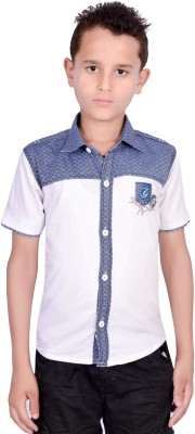 ilomilo Boy's Self Design Casual White Shirt