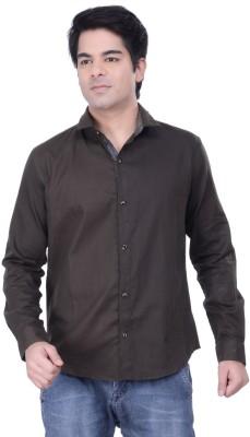 HOH Men's Solid Casual Dark Green Shirt