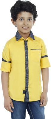 OKS Boys Boy's Solid Casual Yellow Shirt