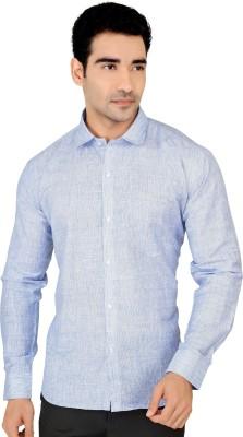 X-Secret Men's Self Design Formal Blue Shirt
