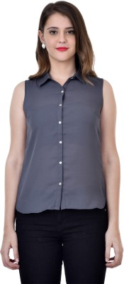 Colors Couture Women's Solid Casual Grey Shirt