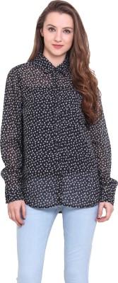 Sweet Lemon Women's Printed Casual Black Shirt