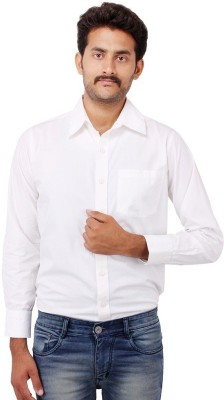 Shiksha Men's Solid Formal White Shirt