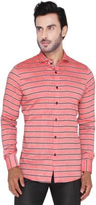 Mode De Base Italie Men's Striped Casual Linen Orange, Black Shirt