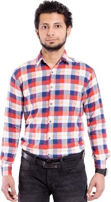 Chaman Handicrafts Men's Checkered Casual Red Shirt