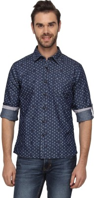 T-Base Men's Printed Casual Blue Shirt