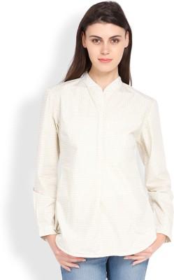 Tokyo Talkies Women's Printed Casual White Shirt
