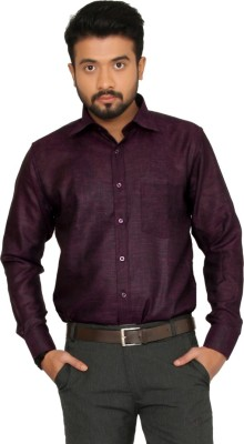 Indian Weller Men's Woven Formal Linen Maroon Shirt