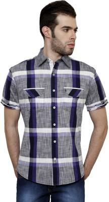 True Tittos Men's Checkered Casual Blue, Light Blue, White Shirt