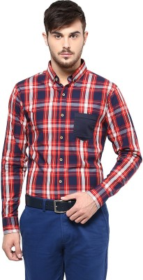 Marcello And Ferri Men's Checkered Casual Red Shirt