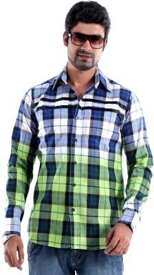 S9 Men's Checkered Casual, Festive, Party Blue, White, Black, Light Green Shirt
