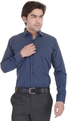 Janus Men's Striped Formal Blue Shirt