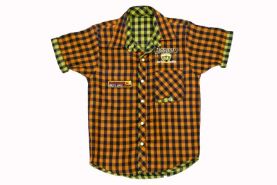 BAD BOY Boy's Checkered Casual Reversible Orange Shirt