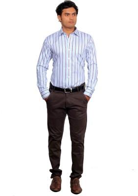 Green Bows Men's Striped Formal White Shirt