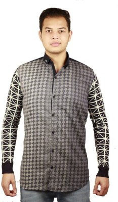Etyhas Collections Men's Printed Casual Blue, Black Shirt