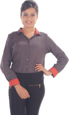 Elle Et Lui Women's Solid Formal Grey, Red Shirt