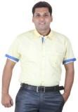 Ignu Men's Solid Casual Yellow, Blue Shi...