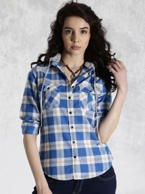 Roadster Women's Checkered Casual Blue Shirt