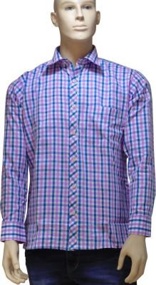 EXIN Fashion Men's Checkered Formal Pink, Blue Shirt
