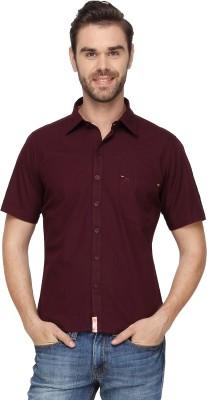 Cross Creek Men's Solid Casual Maroon Shirt