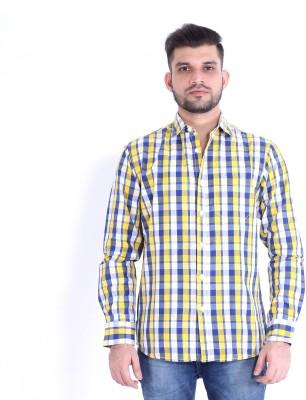RJ MODA Men's Checkered Casual Yellow, Beige, White, Blue Shirt
