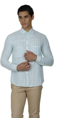 Baba Rancho Men's Checkered Casual White Shirt