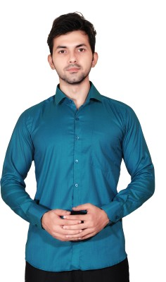 Fabrobe Men's Solid Casual Blue Shirt