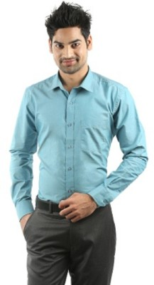 Rv Collection Men's Solid Formal Blue Shirt