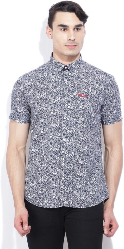 Lee Cooper Men's Printed Casual Blue Shirt