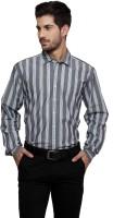 Thousand Shades Formal Shirts (Men's) - Thousand Shades Men's Striped Formal Grey Shirt