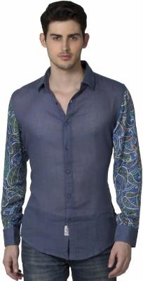 XARO Men's Printed Casual Blue Shirt