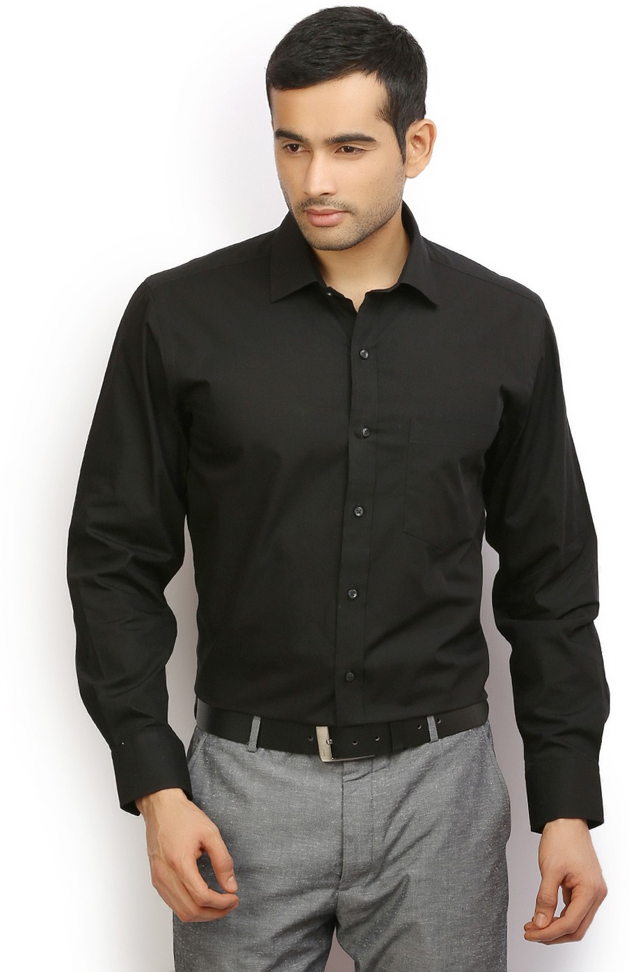 I-Voc Mens Solid Formal Black Shirt
