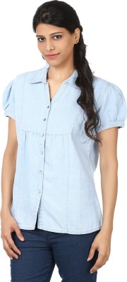 Eves Pret A Porter Womens Solid Casual Light Blue Shirt