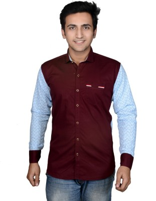 Mensfield Men's Solid Formal Maroon Shirt