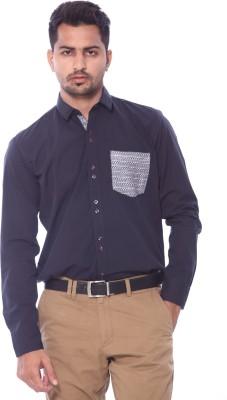 Roger Clothier Men's Solid Casual Dark Blue Shirt