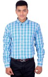 LECARDE Men's Checkered Casual Blue Shir...