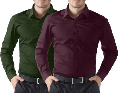 You Forever Men's Solid Casual Green, Purple Shirt