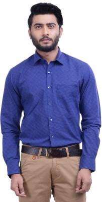 Hoffmen Men's Solid Formal Blue Shirt