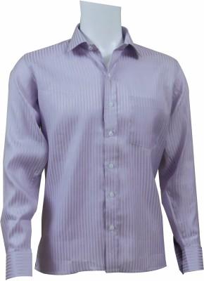 Ardeur Men's Striped Formal Purple Shirt
